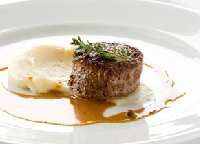 Veal Tenderloin, with Brandy-Peppercorn Cream Sauce and Potato Puree ...